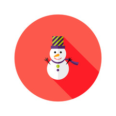 Christmas Snowman with Topper Hat Flat Icon