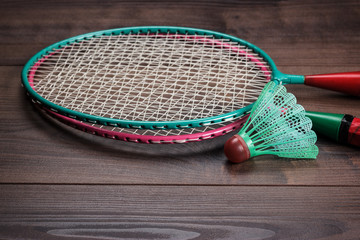 shuttlecock and badminton rackets