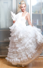 The beautiful woman with a wedding dress