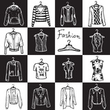 Vector seamless pattern with clothes for women