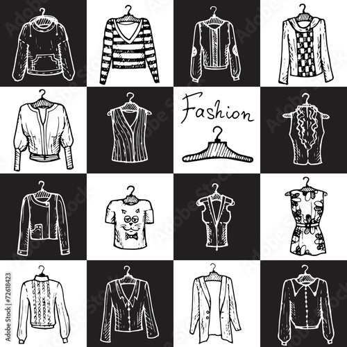 Vector seamless pattern with clothes for women - 72618423