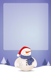 Funny snowman with snowflake background