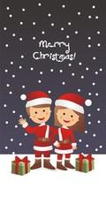 Merry Christmas con niños disfrazados de Papá Noel