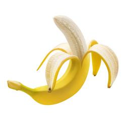 Single banana peeled isolated on white