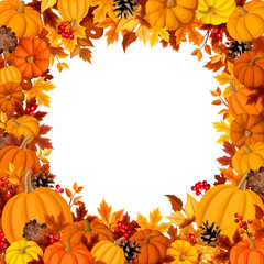 Background with orange pumpkins and autumn leaves. Vector.