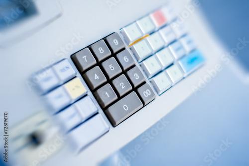 Cash register closeup buttons
