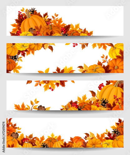 Vector banners with orange pumpkins and autumn leaves. - 72619674
