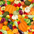 Seamless background with various vegetables and fruits. Vector.