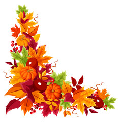 Corner background with pumpkins and colorful autumn leaves.