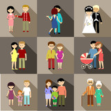 Fototapety Flat set of family life