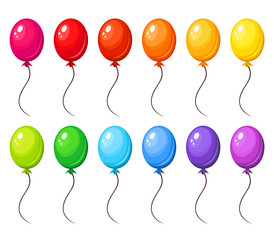 Set of colorful balloons. Vector illustration.