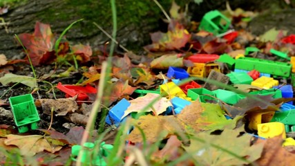box of bricks (toy) in autumn park - fallen leaves - closeup
