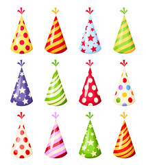 Set of colorful party hats. Vector illustration.