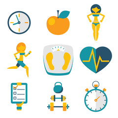 Sport Fitness and Health isolated icons set modern trendy flat