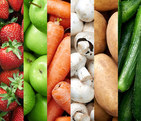 Colourful fruit and vegetable backgrounds collage