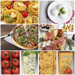 Collage of tasty Italian food