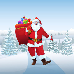 Santa Claus in winter forest woods present