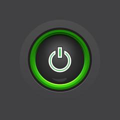glossy dark circle power button