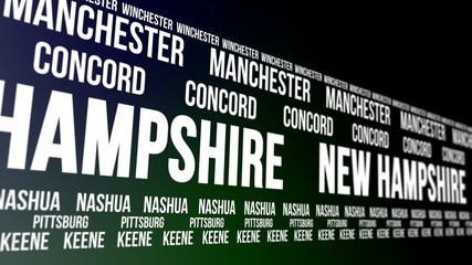 New Hampshire State and Major Cities Scrolling Banner