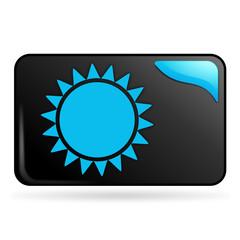 soleil sur bouton web rectangle bleu