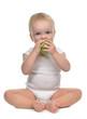 Infant child baby infant girl eating apple