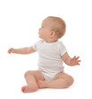 Infant baby toddler sitting hand pointing and looking up