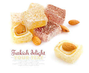 Tasty Turkish delight with almond isolated on white background