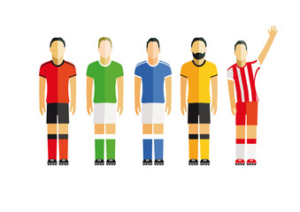 fünf Fußballspieler