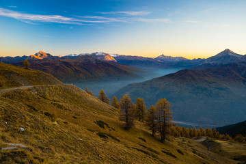 Twilight high up in the Alps