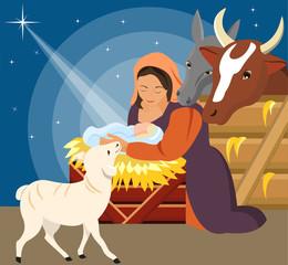 Christmas Christian nativity scene with baby Jesus