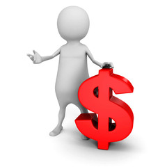 white 3d man with red dollar currency symbol