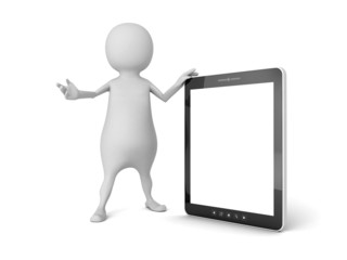 3d white man with portable tablet PC