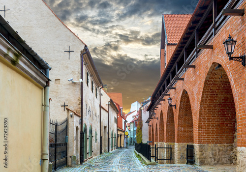 Medieval street in the old Riga city, Latvia. - 72623850
