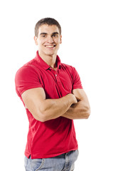fitness man with crossed arms posing in white background