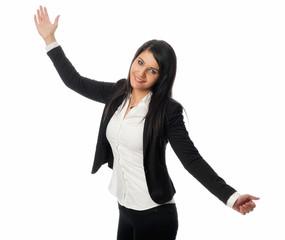 Junge Frau hält eine Präsentation