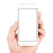 Leinwanddruck Bild - Hand holding white smartphone
