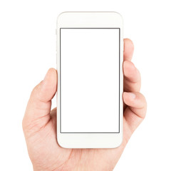 Hand holding white smartphone