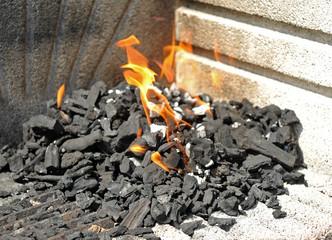 Carbón vegetal ardiendo para una barbacoa