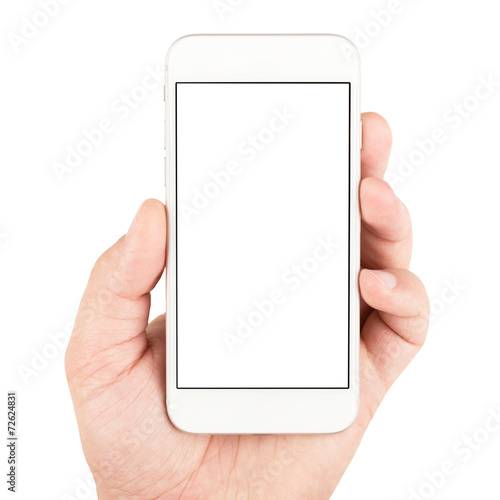 Leinwanddruck Bild Hand holding white smartphone