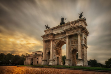 Arc of the peace at sunset milan italy