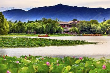Lotus Garden Boat Buildings Summer Palace Beijing, China