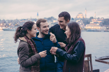 Group of Turkish Friends Drinking Cay, Traditional Tea