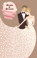 Illustration of groom and bride in light dress made of flowers