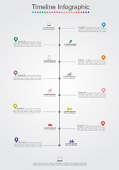 Timeline Infographic template with icons. Vector