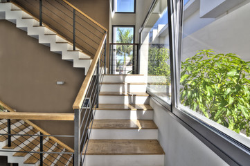 Wood stairs in modernvilla