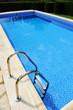 Swimming pool ladder, transparent blue