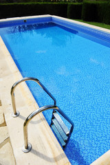 Swimming pool ladder, transparent blue