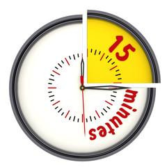 Интервал времени 15 минут (15 minutes). Часы с надписью