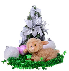 toy sheep with christmas toys