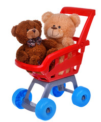 Shopping supermarket cart with teddy bear toys